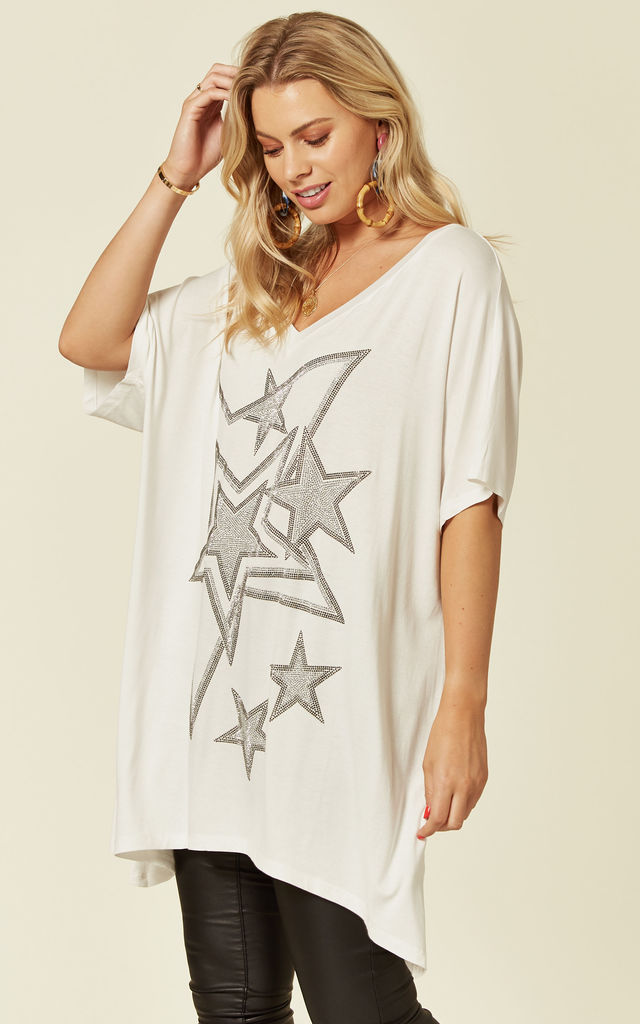 Embellished Star Design V Neck T shirt in White by Malissa J Collection