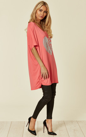 Heart Embellished V Neck T shirt in Coral by Malissa J Collection
