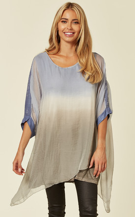 3 Tone Jersey and Chiffon Overlay Top in Blue by Malissa J Collection