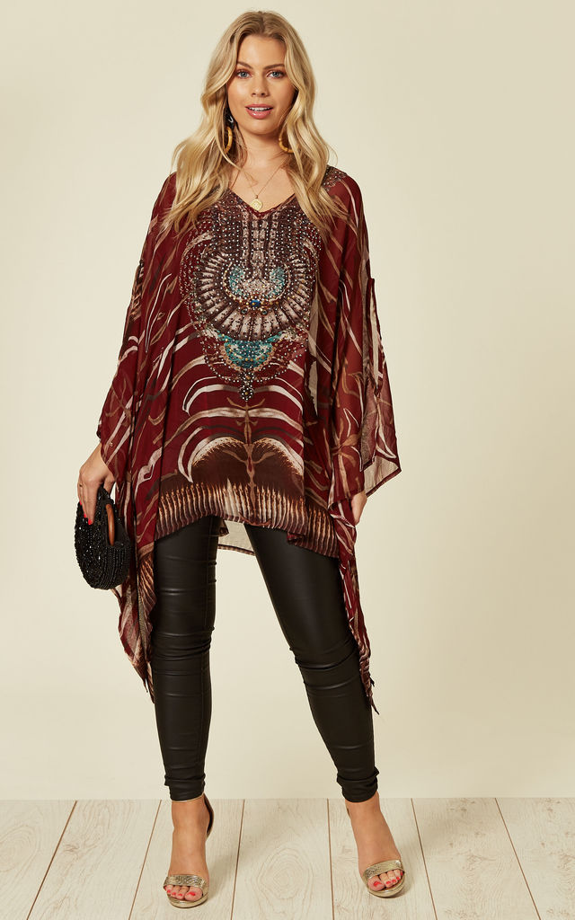 Chiffon Bling Embellished V neck Square Summer Kaftan in Wine Red by Malissa J Collection