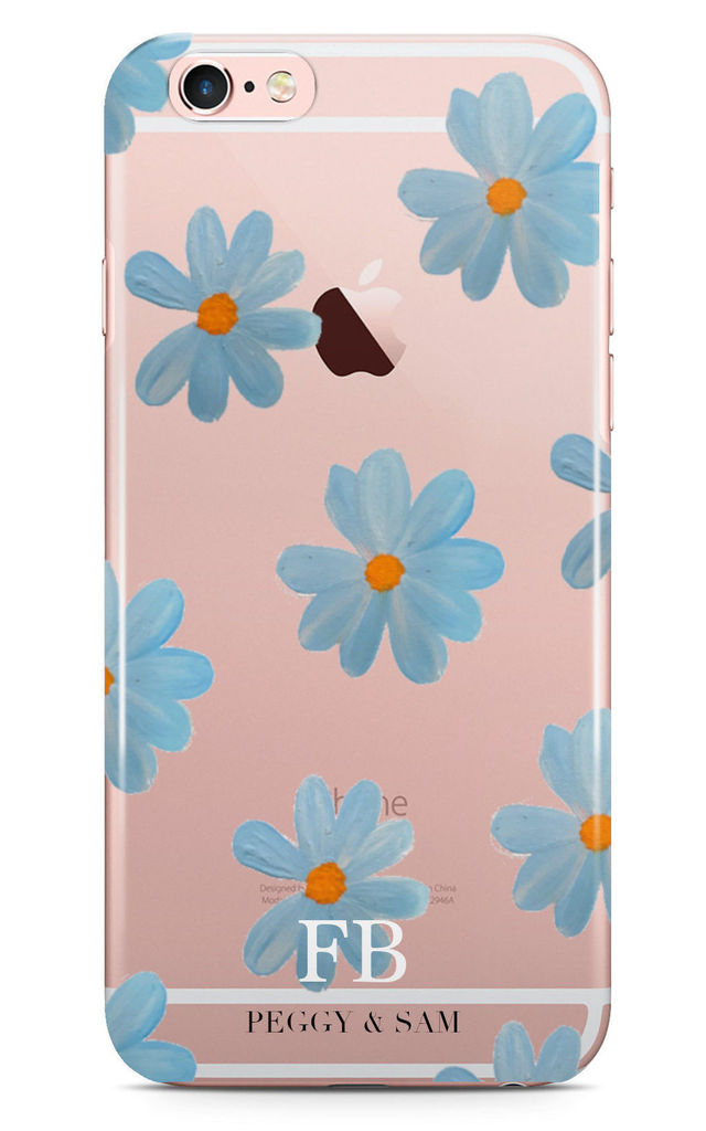 Clear Personalised Phone Case in Blue Daisy Print by Peggy and Sam