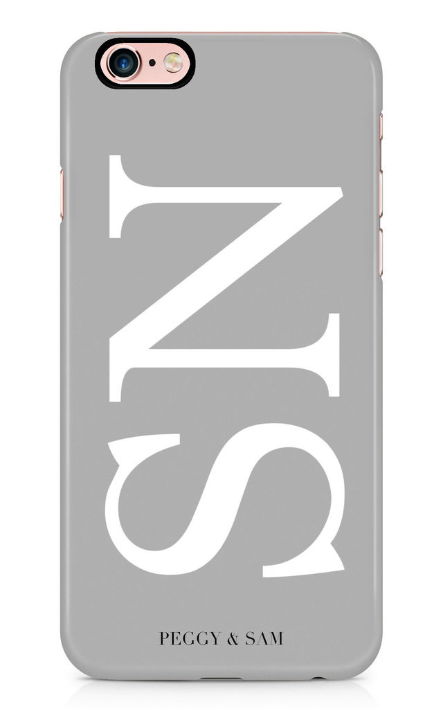 Initials Personalised Phone Case in Grey by Peggy and Sam