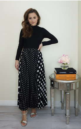 Polka Dot Pleated Midi Skirt by Styled Clothing Product photo