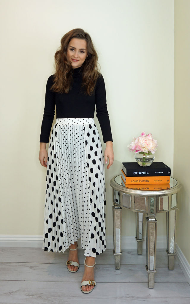 Polka Dot Pleated Midi Skirt (White) by Styled Clothing