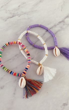 Three Beach Shell Gold & Multicolour Stretch Beaded Bracelets by Gold Lunar