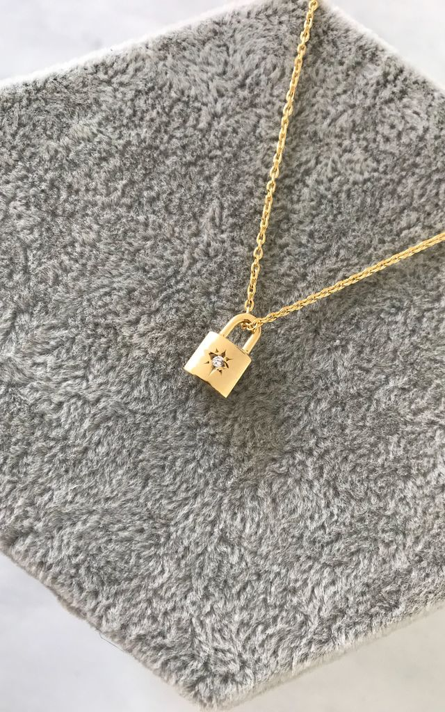 Gold Chain Necklace With Cubic Zirconia Star Padlock Pendant by Gold Lunar