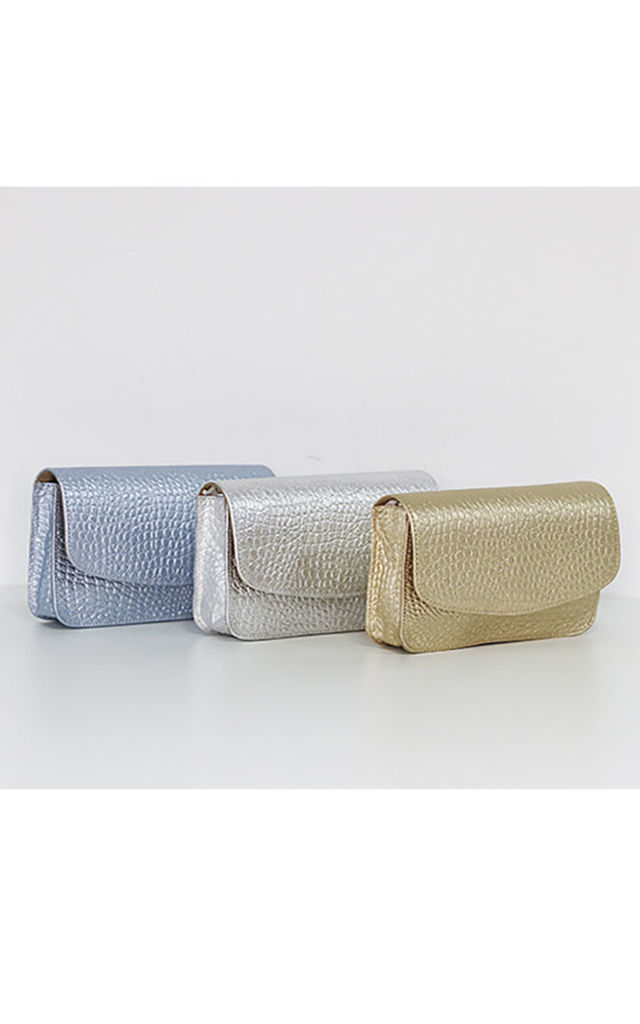 COCO IT ENVELOPE CLUTCH BAG in GOLD by THE CODE HANDBAGS