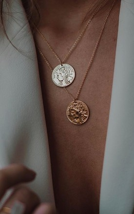 Double Coin Necklaces Gold Plated Jewellery by Gold Lunar