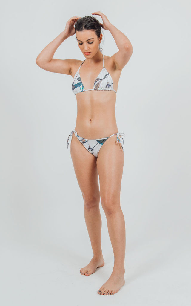 Poneloya sustainable triangle bikini top in Mangrove Fever print by VILDNIS