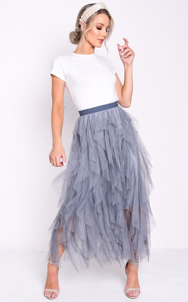 1146946f02892b High waisted layered tulle ruffle midi skirt dark grey by LILY LULU FASHION