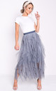 Layered high waisted tulle ruffle midi skirt dark grey by LILY LULU FASHION