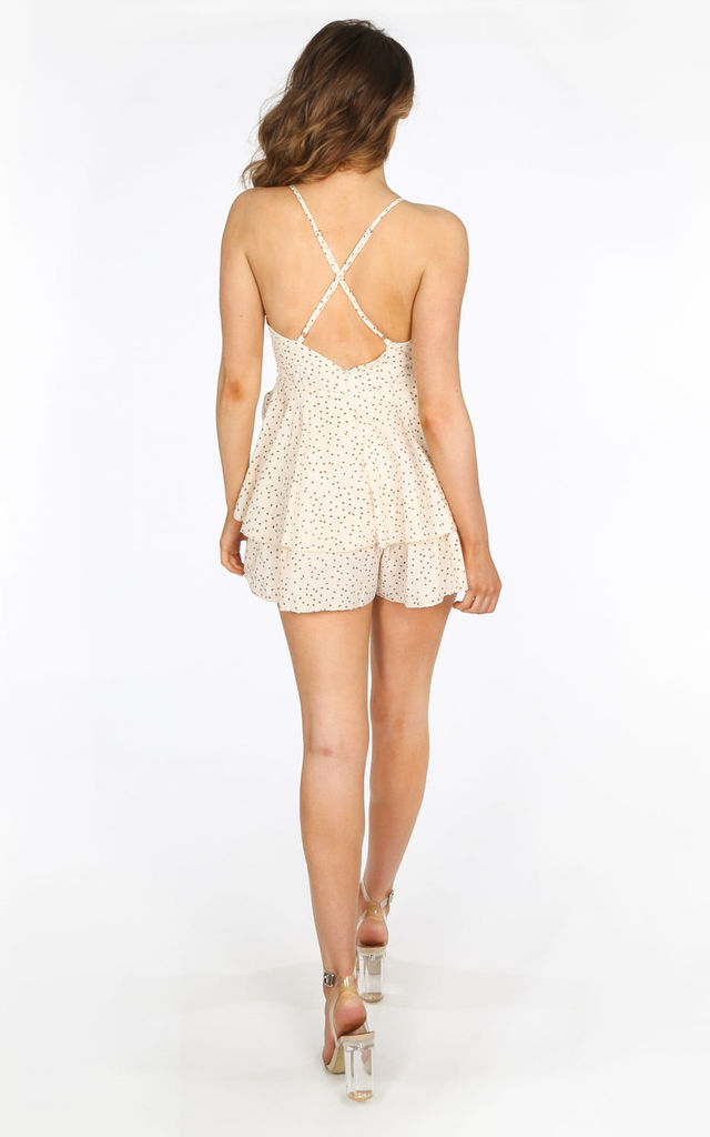 Cream Polka Dot Frill Playsuit by Dressed In Lucy
