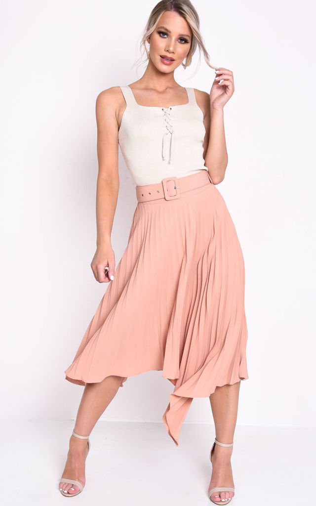 Belted asymmetric hem pleated midi skirt nude pink by LILY LULU FASHION