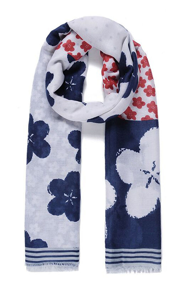 Lightweight Scarf In Navy Blossom Print by Ruby Rocks Boutique