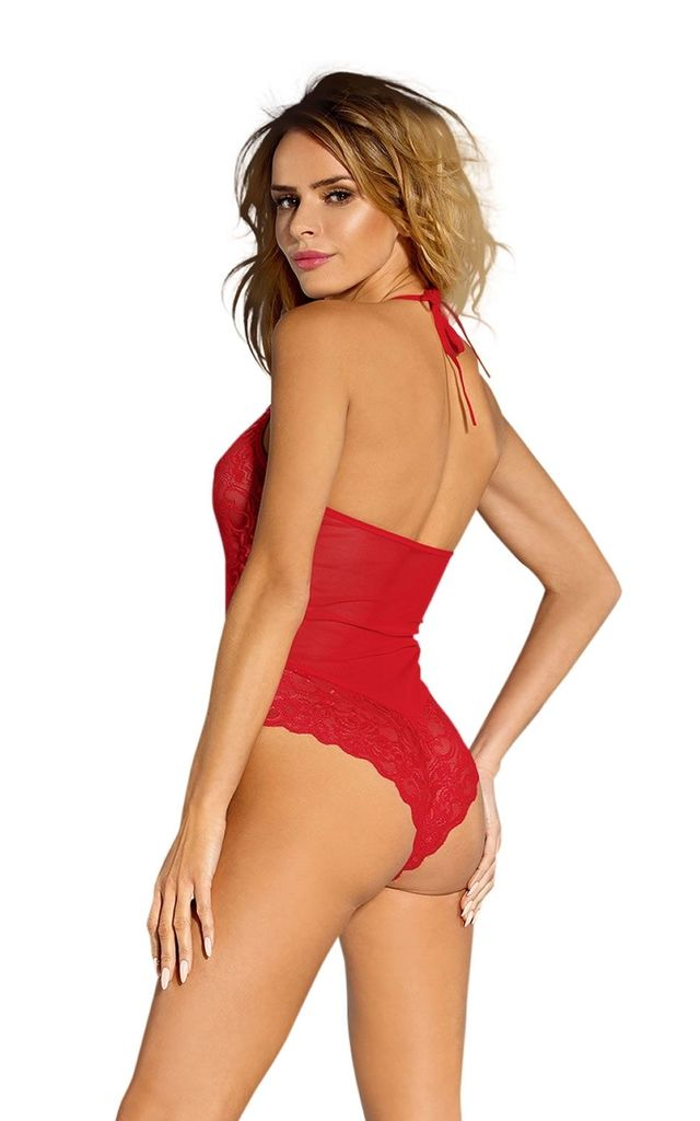 Louise Red Halterneck Bodysuit by BB Lingerie
