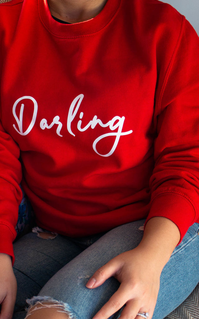 Darling Slogan Long Sleeve Sweatshirt in Red by Peggy and Sam