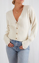 Nova Ribbed Button Down Cardigan - Cream by Pretty Lavish