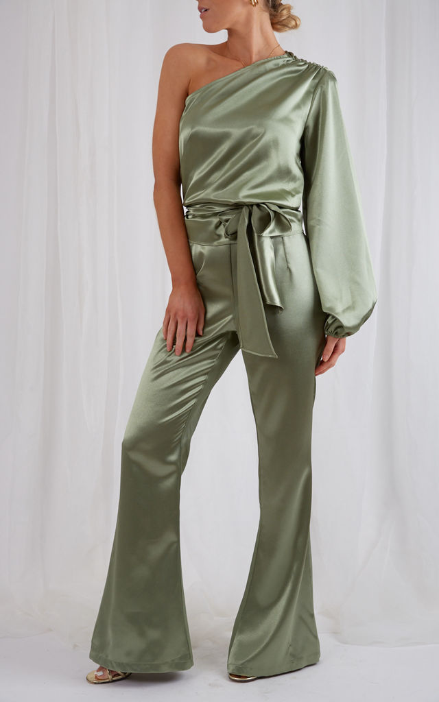 Amari Flared Trousers - Olive by Pretty Lavish