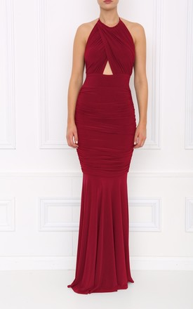 Erin Berry Halter Neck Fishtail Maxi Dress by Honor Gold Product photo