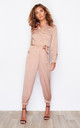 Carrie Long Sleeve Utility Jumpsuit Nude by Girl In Mind