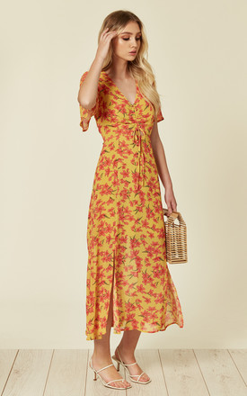 Floral print short sleeve midi dress in yellow by Another Look