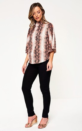 High Neck Top in Pink Snakeskin by Marc Angelo