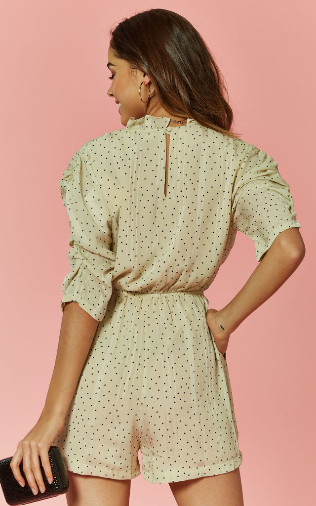Spotted Wrap Front Playsuit by Glamorous