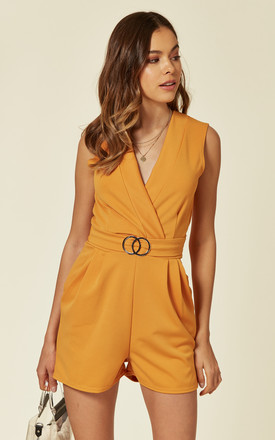Gia V neck Mustard belted playsuit by NeyKay London