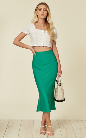 Satin midi skirt in green by Another Look