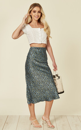 Leopard print midi skirt in blue by Another Look