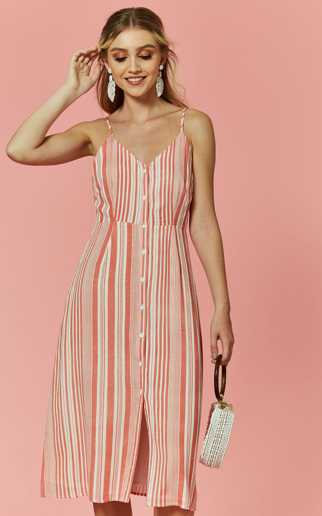 Washed Red Button Through Stripe Midi by Glamorous