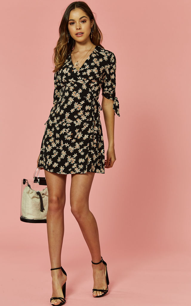 Daisy Printed Wrap Dress by Glamorous