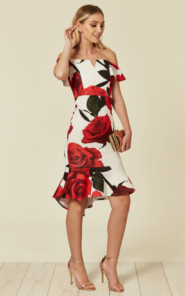 Rose Floral Print Off The Shoulder Midi Dress With