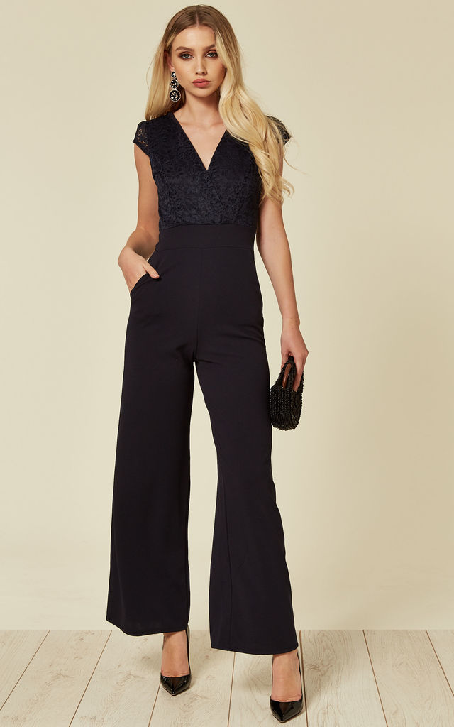Laura Cap Sleeve Lace Top Navy Wide Leg Jumpsuit Wedding/Event by WalG