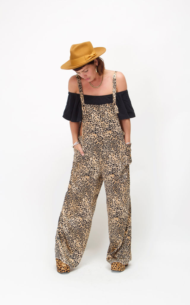 Wide Leg Dungarees with Side Pockets in Cheetah Print by House of Polly
