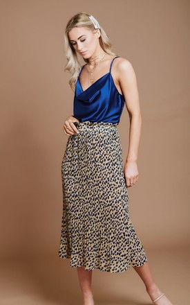 Blue Leopard Print Pleated Skirt by HAUS OF DECK