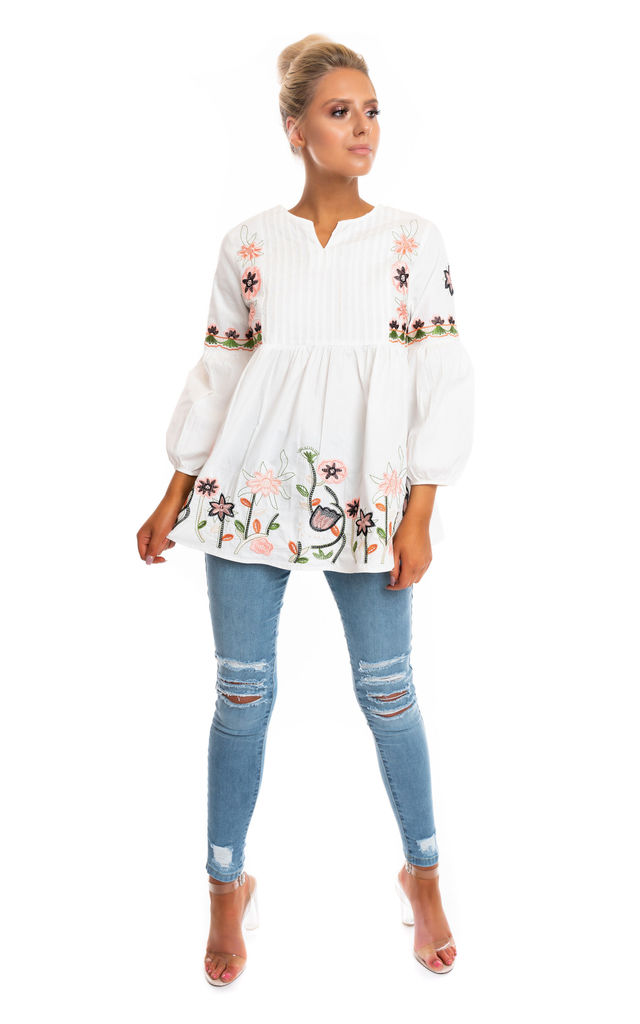 Palma Top with Floral Design in White by Miss Attire