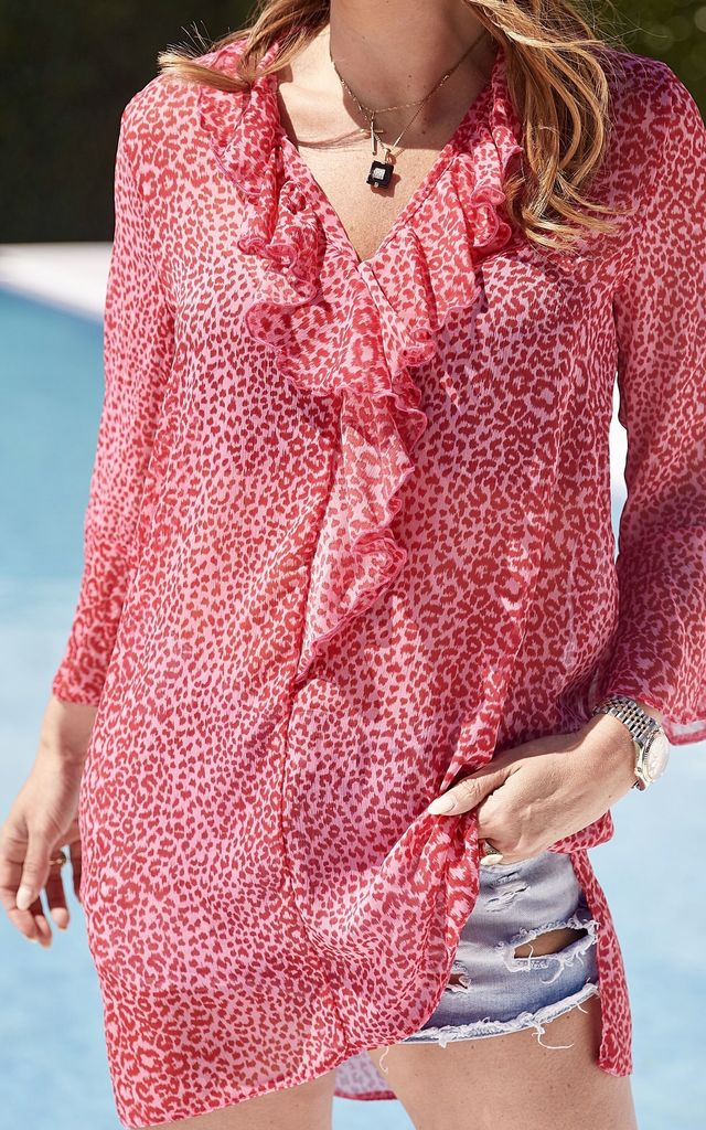 HUDSON KAFTAN in Pink and Red by Libby Loves