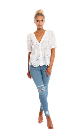Bryon Short Sleeve Top in White by Miss Attire