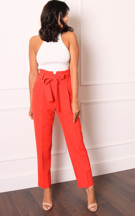 Luxe Notched High Waist Tailored Tapered Suit Trousers With Self Tie Belt In Orange by One Nation Clothing Product photo