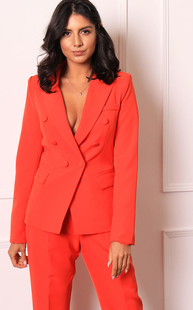 Luxe Double Breasted Covered Button Blazer in Orange by One Nation Clothing