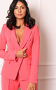 Luxe Double Breasted Covered Button Blazer in Hot Pink by One Nation Clothing