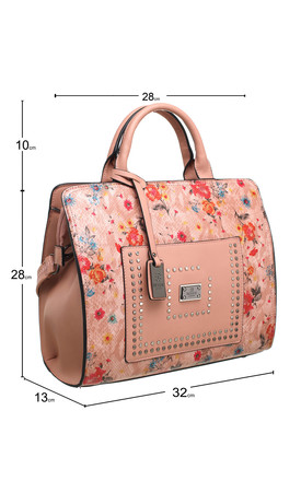 SPRING FLORAL PRINT STUDDED TOTE BAG PINK by BESSIE LONDON