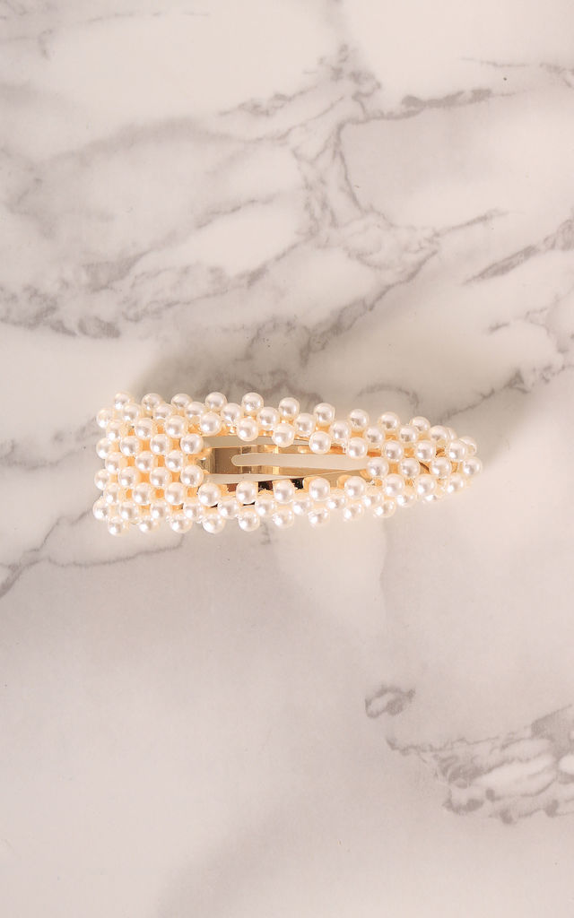 Small Pearl Hair Clip in Gold Tone by One Nation Clothing