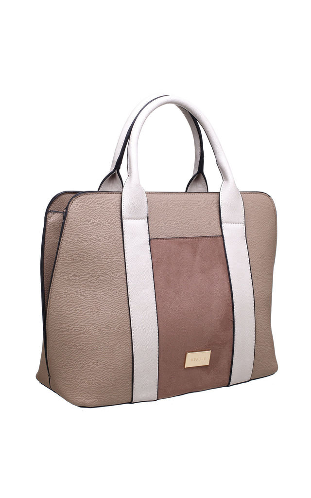 TRIPLE COLOUR TOTE BAG KHAKI by BESSIE LONDON