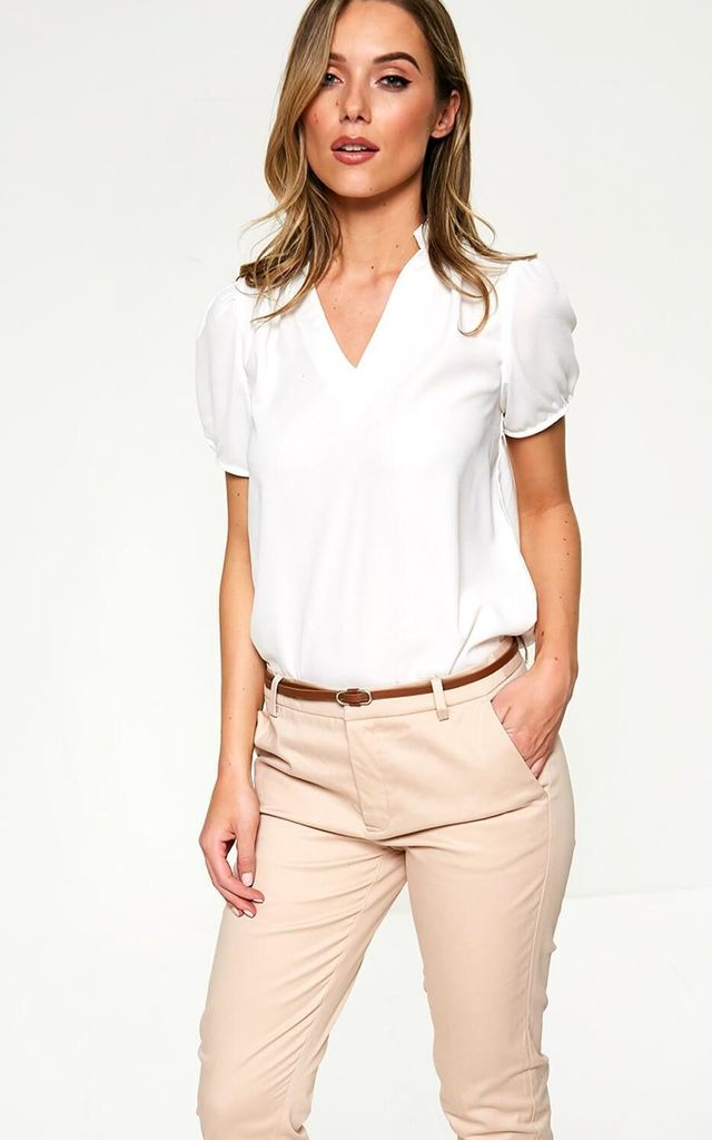 Short Sleeve Top with Frill Detailing in Off White by Marc Angelo