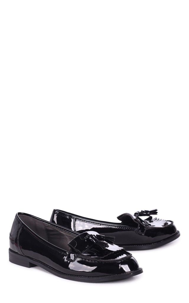 Rosemary Faux Leather Loafers in Black Patent by Linzi