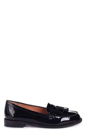 Laverne Black Patent Classic Slip On Loafer With Tassel by Linzi