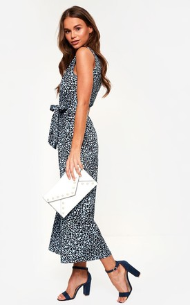 Animal Print Jumpsuit in Blue by Marc Angelo