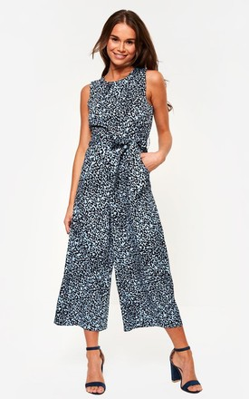 Animal Print Jumpsuit In Blue by Marc Angelo Product photo